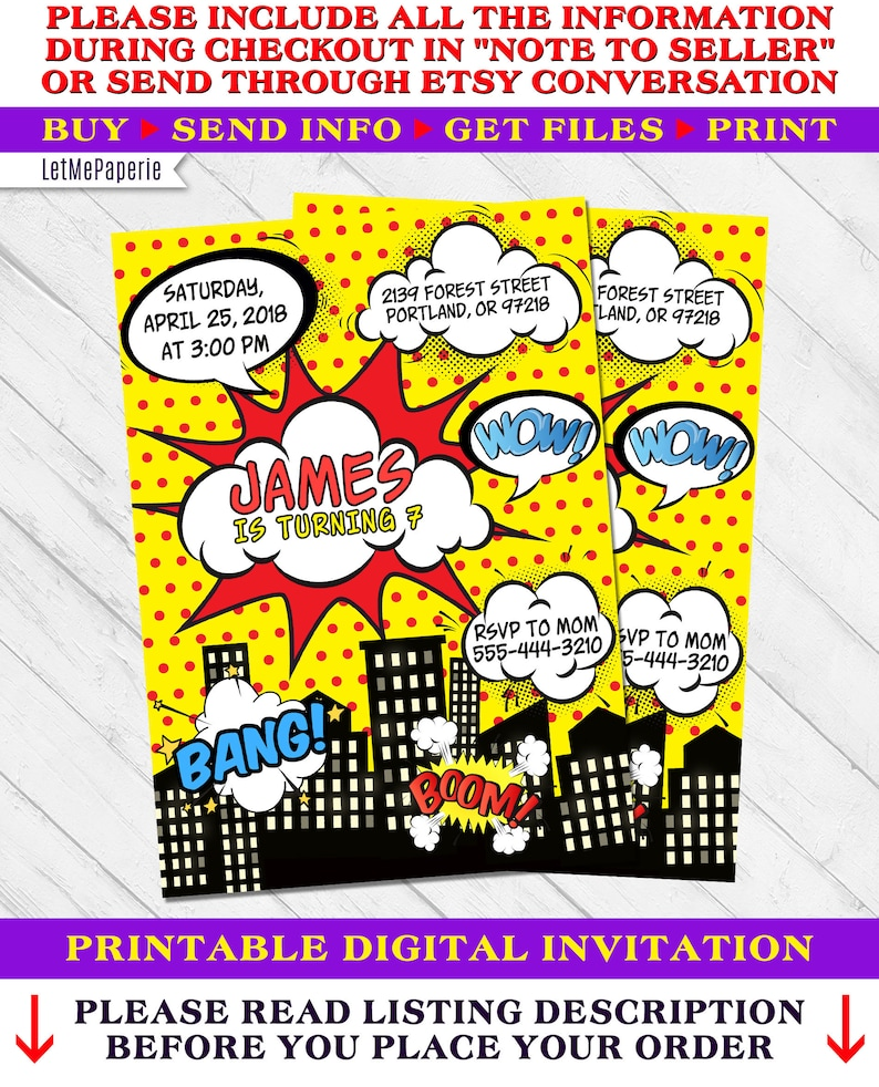 Super Hero Invitation Superhero Birthday