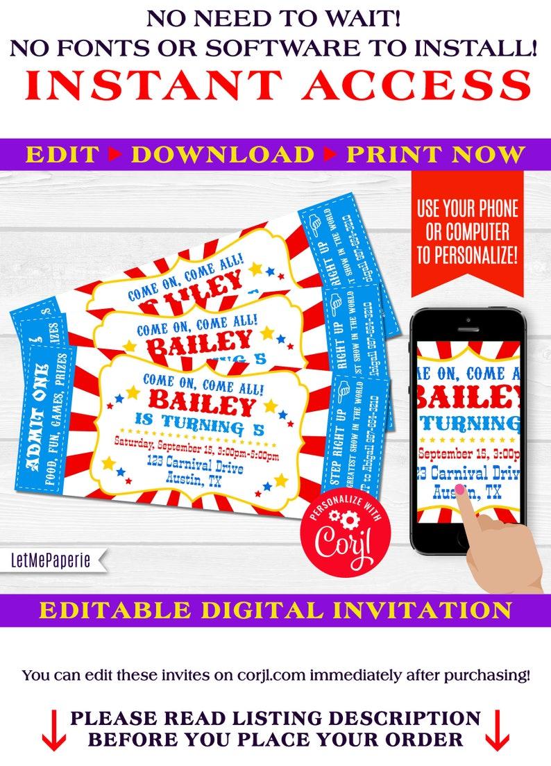 Circus Ticket Invitation Template Editable Carnival Birthday Etsy