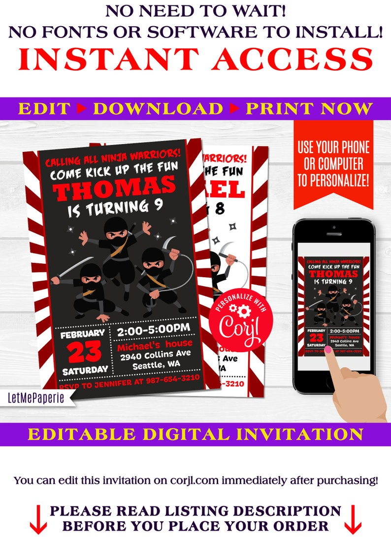 Ninja Birthday Invitation Template Editable Party Printables Karate Invite Warrior