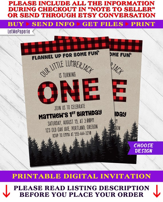 Lumberjack First Birthday Invitation Little Invite Party Buffalo Plaid