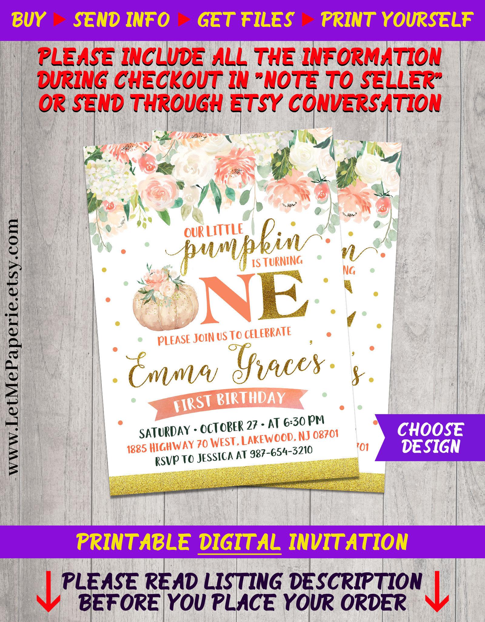 Pumpkin invitation Pumpkin Birthday Invitation Little