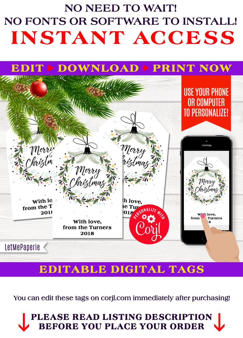 graphic relating to Printable Christmas Gift Tags Templates identify Xmas wreath tags template, editable Xmas present tag, printable Xmas tags, Merry Xmas Tags, edit oneself, Instantaneous Down load