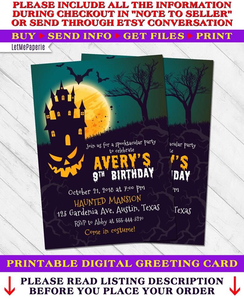 Halloween Birthday Invitation Party
