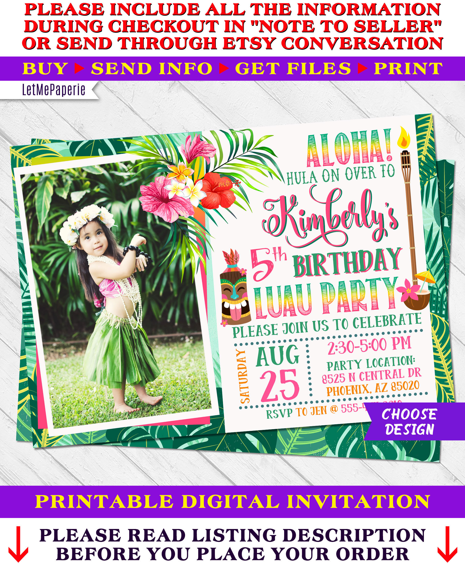 Luau Invitation Luau Birthday Invitation Luau Party Etsy