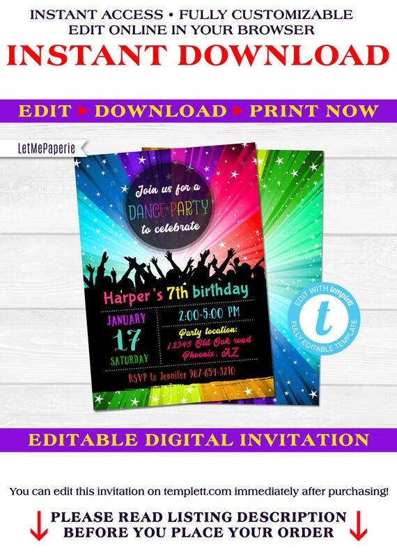 Dance Party Invitation Template Editable Disco Party Invite Etsy