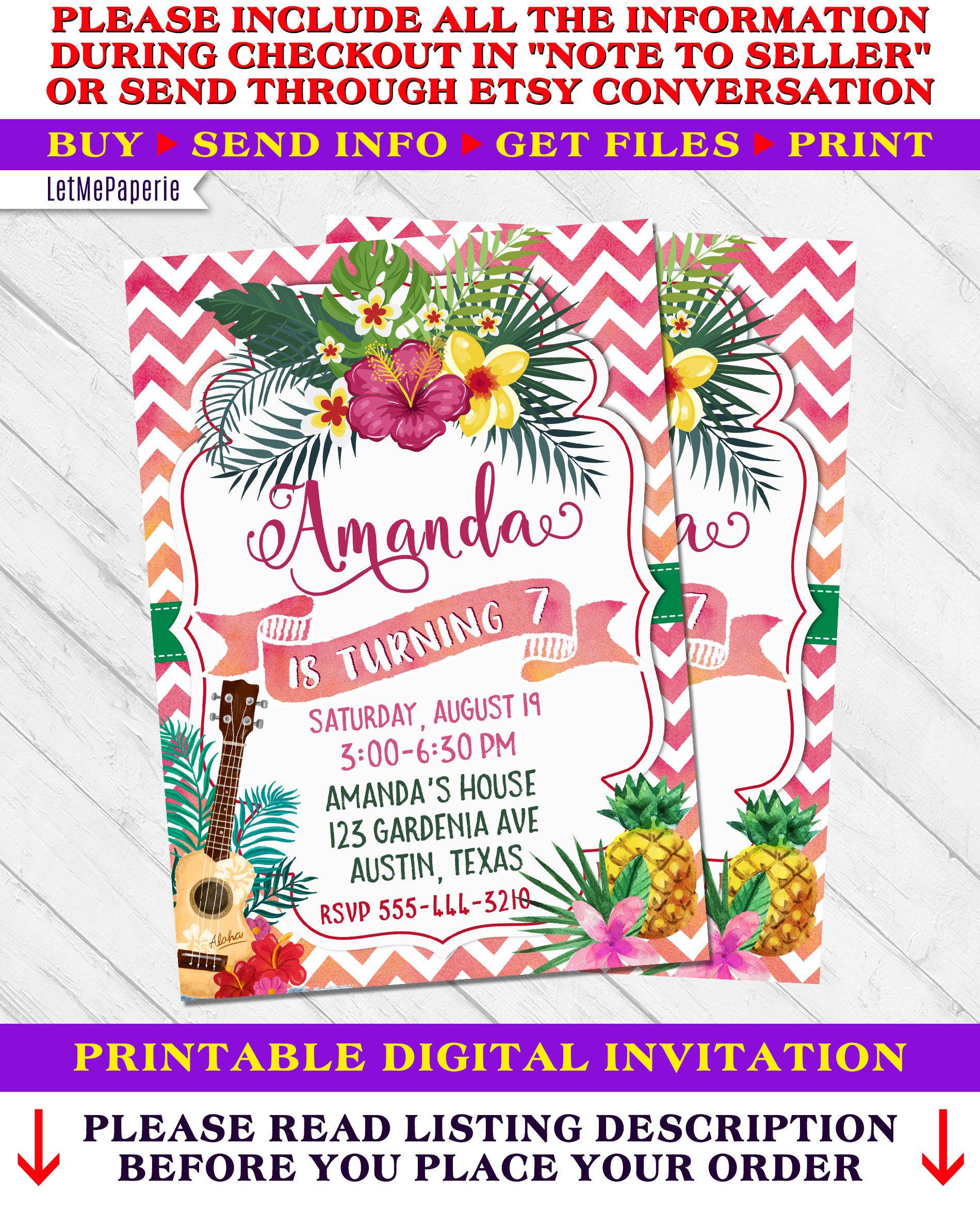 Hawaiian Party Invite Pineapple Invitation Hawaiian Birthday Etsy