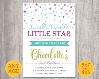 Twinkle Twinkle Little Star Invitation, Twinkle Twinkle Birthday Invite, Twinkle Twinkle Little Star First Birthday party invitation, Gold