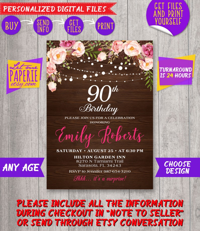 90th Birthday Invitation Rustic Surprise