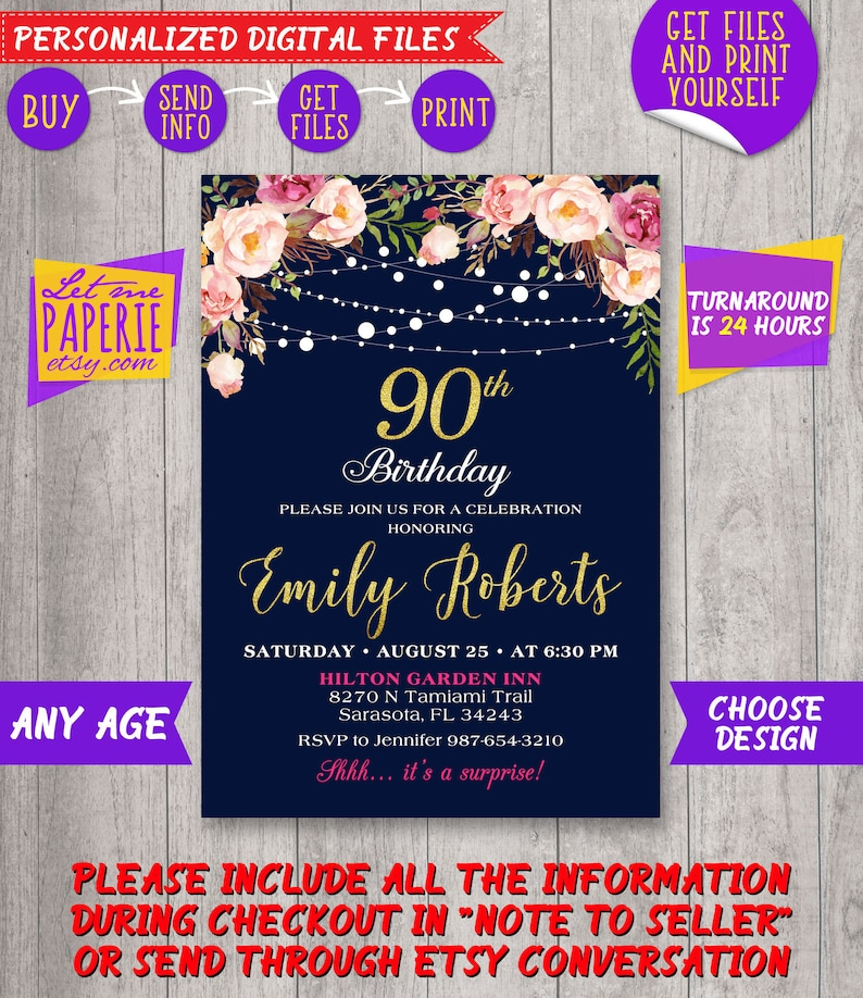 90th Birthday Invitation Navy And Gold Floral