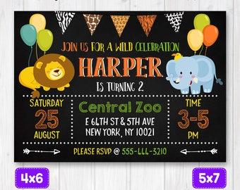 Zoo animals invitation, Zoo birthday invitation, Zoo birthday party, Safari animals birthday Invite, zoo invitation, wild animals invitation