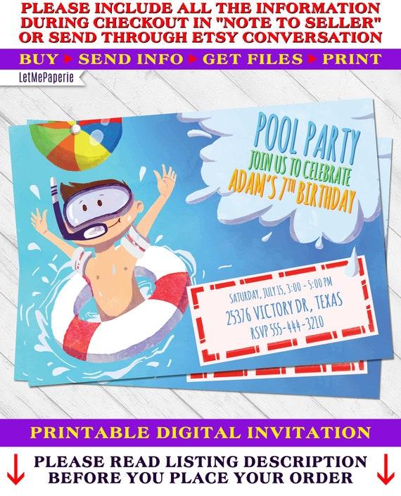 Boy Pool Birthday Invitation Party