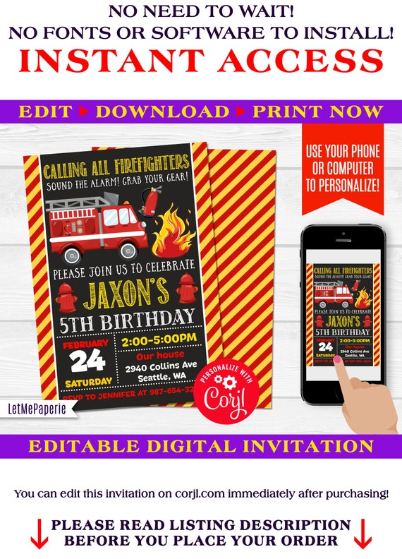 Firetruck invitation, fireman birthday invitation, Firefighter invite,  Editable Firetruck invite, Boys birthday party printable, self edit