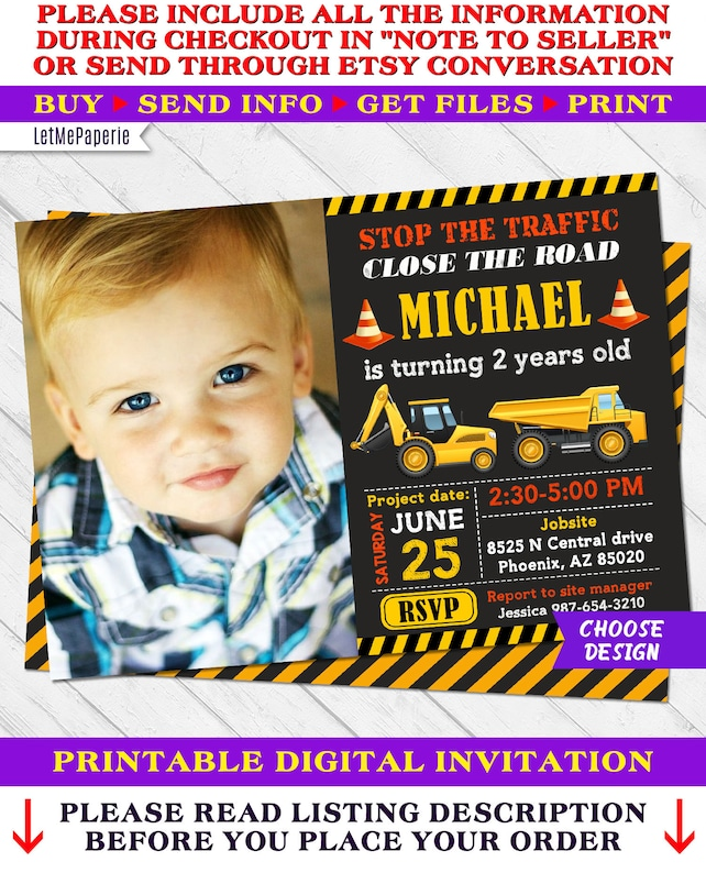 Construction Invitations Birthday Invitation Printable Party Invite Digger Dump Truck Digital