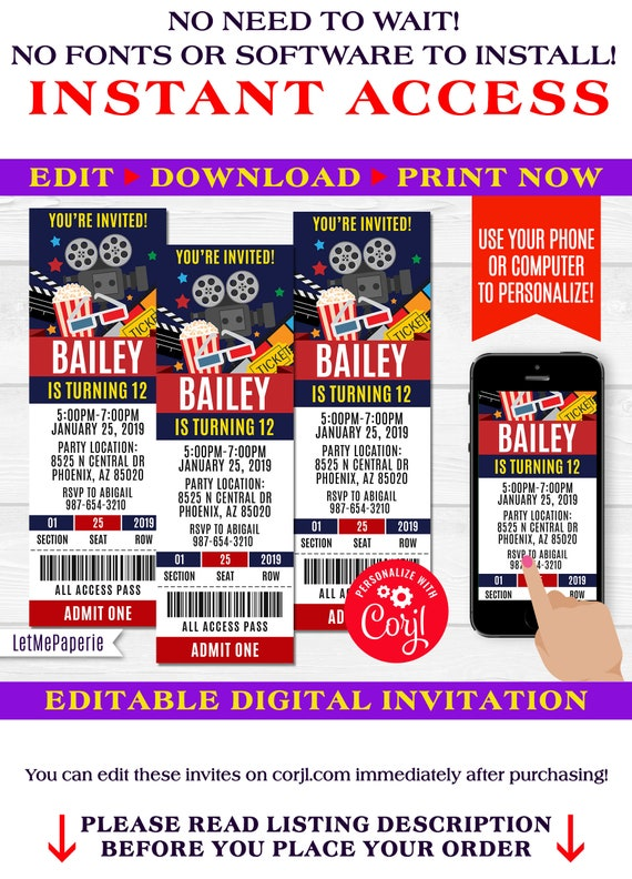 Movie Party Ticket Invitation Template Editable Movie Etsy