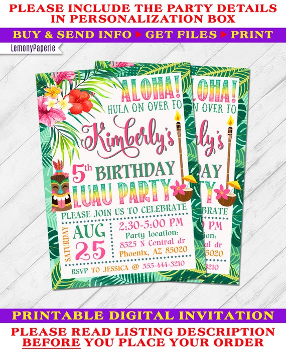 DIGITAL FILE Luau Beach Party Invitation U PRINT