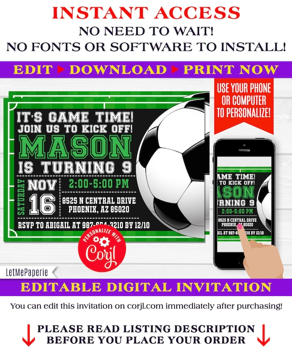 soccer invitation template editable soccer birthday etsy