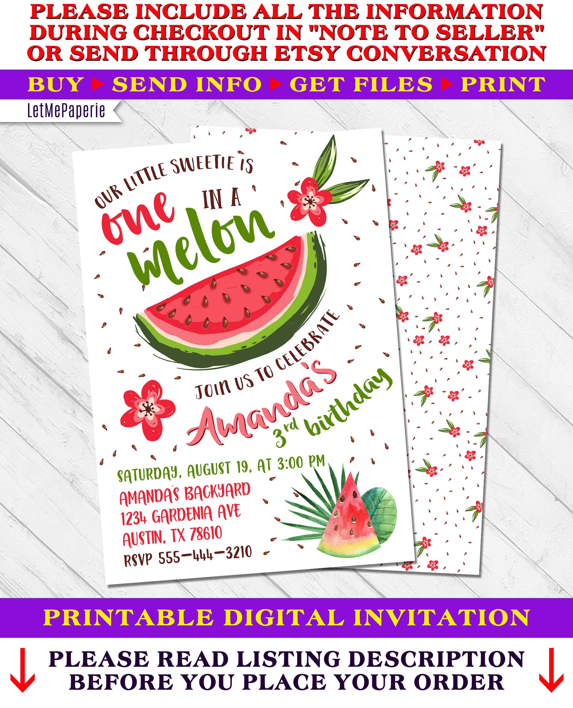 One in a Melon Invitation Watermelon Birthday Invitation   Etsy