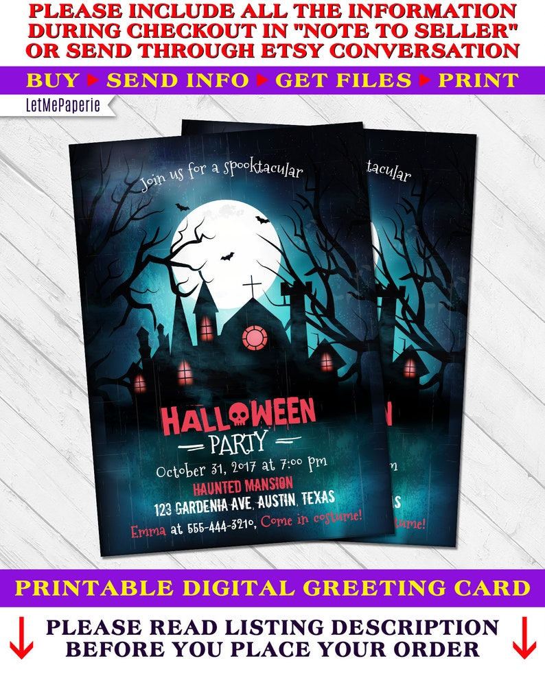 Halloween Party Invitation Halloween Invitations Adult Halloween Costume Party Scary Halloween Invite Haunted House Halloween Invitation