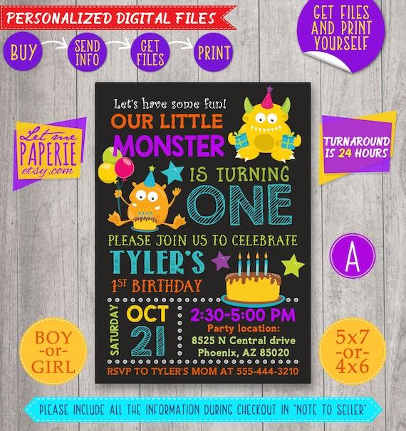 Monster Birthday Invitation Little Monster Invitation Etsy
