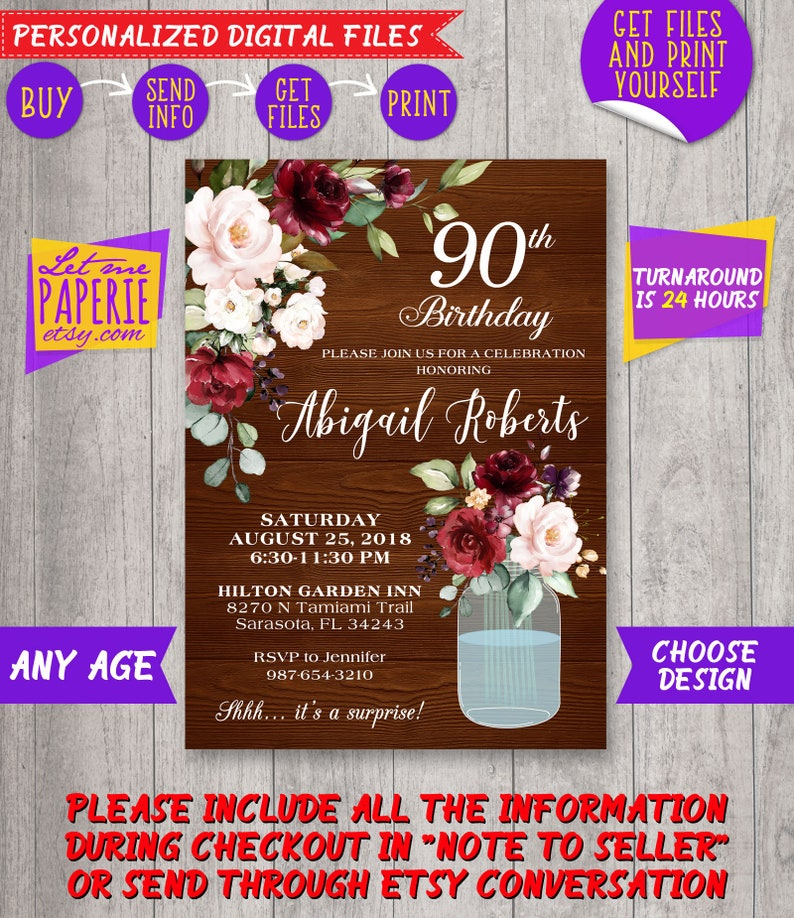 90th Birthday Invitation Rustic Burgundy Floral