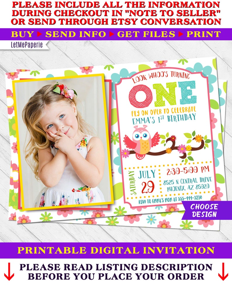 Owl Invitation Birthday Invite