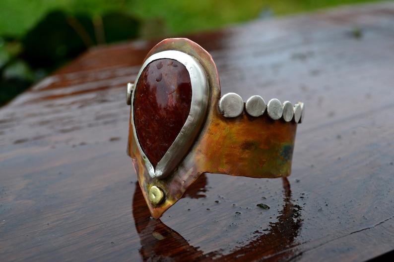 copper Tribalrustic silver Cuff Bracelet brass with a red Jasper