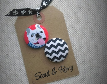 Needle Minder, Bulldog, Bull Dog, Chevron, 2 Piece Reversible, Scout and Remy, Cross Stitch, Sewing, Embroidery
