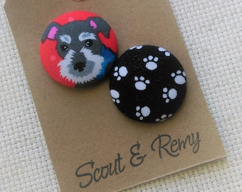Needle Minder Schnauzer, Dog, Paws, Paw Print, 2 Piece Reversible, Scout and Remy, Cross Stitch, Needleminder, Embroidery, Sewing, Gift