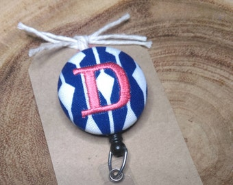 Monogram Badge Reel - Retractable ID Badge Holder, Badge Holder, Scout and Remy, Navy White Modern
