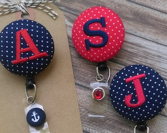 Monogram Badge Reel, Retractable Badge Reel, Red, Navy, Anchor, RN, LVN, OT