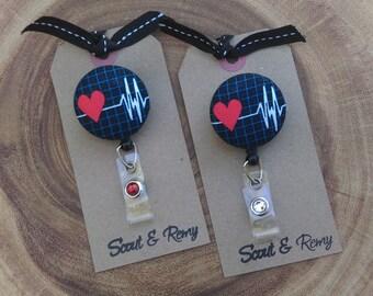 Badge Reel, EKG, Cardiac, Heart, Heartbeat, Badge Holder,Retractable Badge Reel, ID Badge Scout and Remy