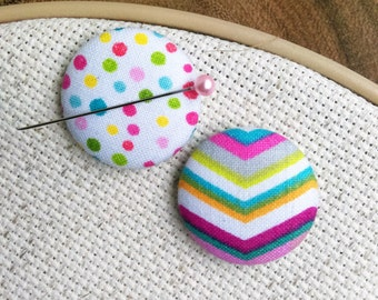 Needle Minder, Rainbow Chevron and Polka Dots, 2 Piece Reversible Scout and Remy, For Cross Stitch, Sewing, Embroidery