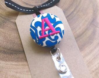 Monogram Badge Reel Badge Holder- Custom - Blue Swirl, RN, LPN, OT