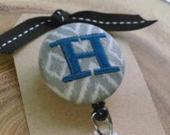 Monogram Badge Reel, Retractable Badge Reel, Teacher, Nurse, RN, OT, PT