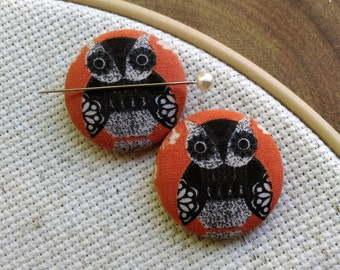 Needle Minder Owl 2 Piece Reversible Scout and Remy for Cross Stitch, Embroidery, Sewing