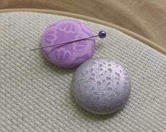Needle Minder, Lavender, Silver Metallic,  2 Piece Reversible Scout and Remy, For Cross Stitch, Sewing, Embroidery