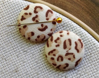 Needle Minder, Leopard,  2 Piece Reversible Scout and Remy, For Cross Stitch, Sewing, Embroidery, Quilting