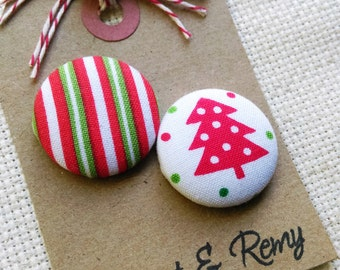 Needle Minder, Tree, Stripes, Red, Green, White, 2 Piece Reversible Scout and Remy, For Cross Stitch, Sewing, Embroidery