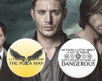 "SALE 2 Pack, Supernatural Pins, 2.25"" Pins, Castiel Quotes, Sam Winchester Quotes, Sam and Dean Winchester, Protection Spell, Angel Wings"
