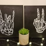 "Skeleton Rock Hands and Peace Sign 11x14"" or 12x12"" Black Canvas, Rock Hands, Gold, Alt Decor, Cozy Gift, Punk Rock, Music Gifts"