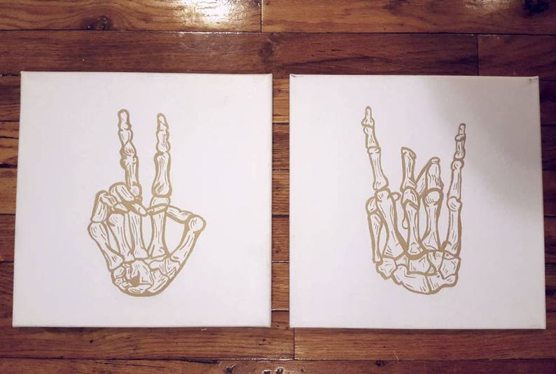 Skeleton Rock Hand Peace Sign White and Gold Music Gifts image 0