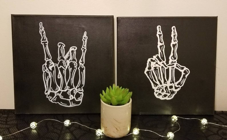 Skeleton Rock Hands and Peace Sign 11x14 or 12x12 image 0