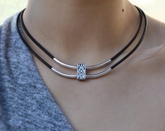 Delicate necklace, geometric necklace, leather necklace, diamond necklace, triangle necklace, double necklace, boho necklace, leather choker
