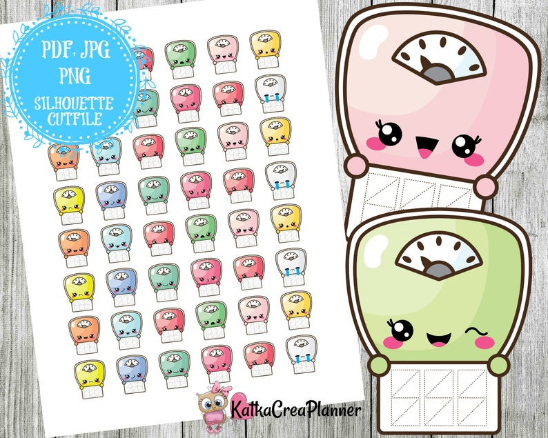 image regarding Printable Scales identified as Lovely Printable Scales Stickers, Fat Tracker Planner Stickers, Filofax, Pleased Planner, Erin Condren, Kawaii Sticker, Ornamental Stickers