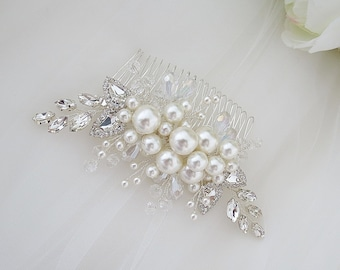 Big Sparkly Slide Crystal Wedding Hair Comb Clear Rhinestone Side Haircomb Victorian Bronze Hairpiece Vintage Bridesmaid Accessory H2049A