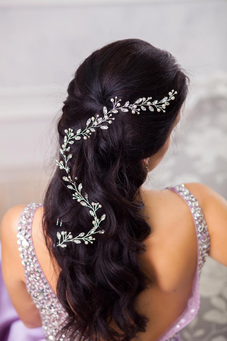 Bridal back hair piece Extra long hair vine for bride Wedding Crystal hairpiece Pearl hair comb Halo crown Tiara
