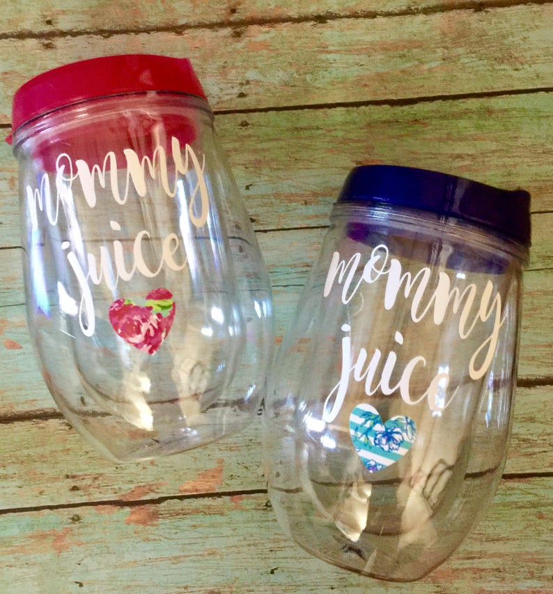 93d53005cc3 Mommy Juice Stemless Wine Glass Tumbler with Lid and Straw | Etsy