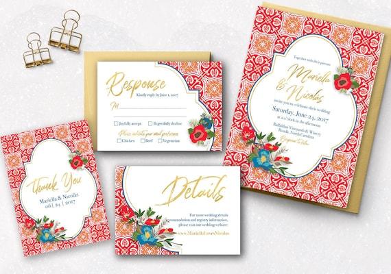 Wedding Invitations Spanish: Spanish Tile Wedding Invitation Set Destination Wedding