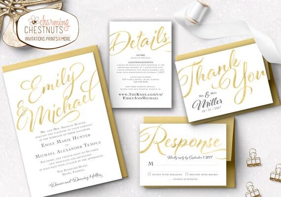 gold wedding invitation set luxury invitation gold etsy
