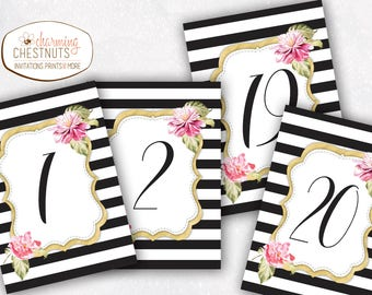 Black stripe table numbers, gold table numbers, wedding table numbers, elegant table number, blush table number, printable table, black pink